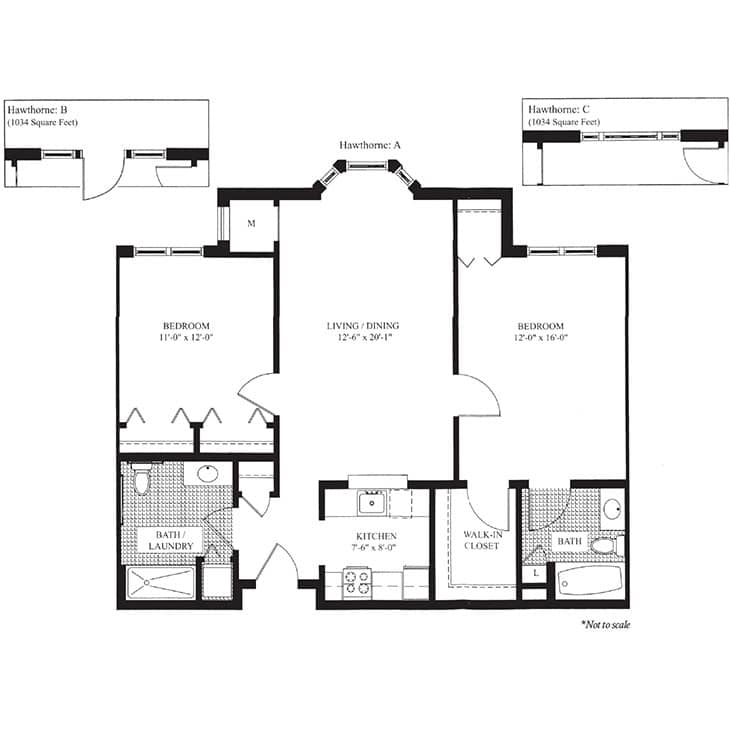 The Hawthorne floor plan at The Knolls in Westchester County, NY