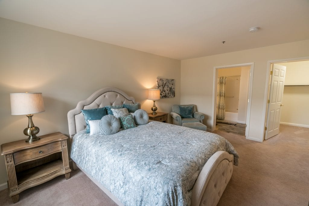 The comfortable bedrooms in the Hawthorne residence at The Knolls also feature huge closets.